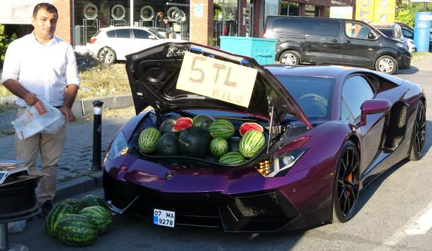 Lüks otomobilde karpuz satmıştı! Cezası kesildi